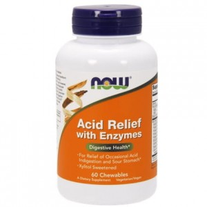 Acid Relief with Enzymes NOW FOODS 60 tabletek do ssania